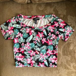 Pink floral Hawaiian crop top